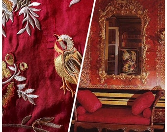 Designer 100% Silk Taffeta Embroidered Birds and Floral Drapery Fabric - Red and Gold - Sold By The Yard