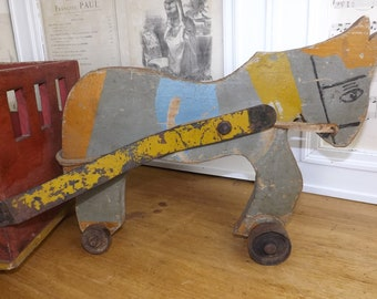 Absolutely Delightful Vintage Pull Along French Donkey & Cart Childs Toy c1950s