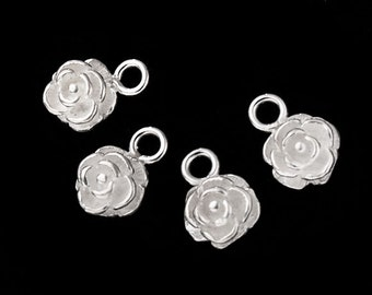 4 of 925 Sterling Silver Rose Charms 6.7mm. :th1933