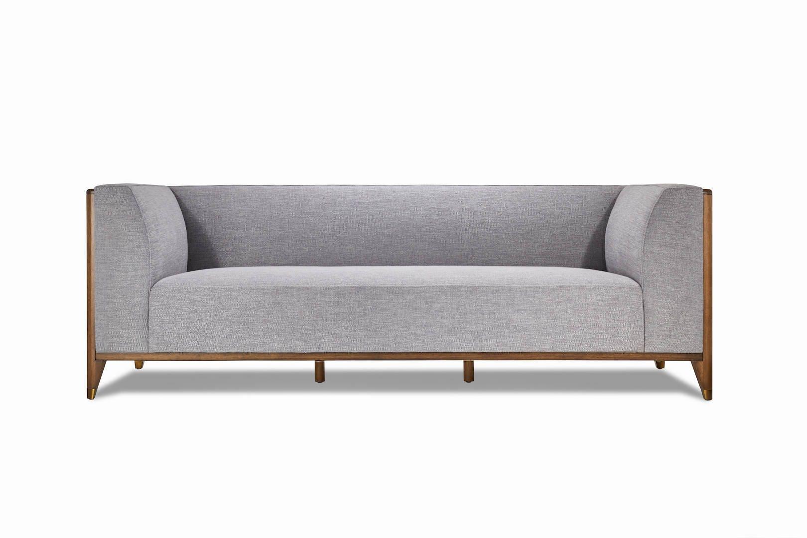 Walnut Mid Century Sofa 3 Seater, Wood frame sofa, Mid Century sofa ...