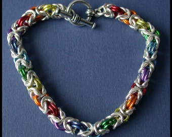 Rainbow Byzantine Bracelet in Non Tarnish Silver Plate and Colored Enamel