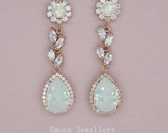 Chandelier Earrings Wedding Earrings Opal Bridal Earrings Rose gold Wedding Jewelry Swarovski Rhinestone Earrings White Opal Earrings
