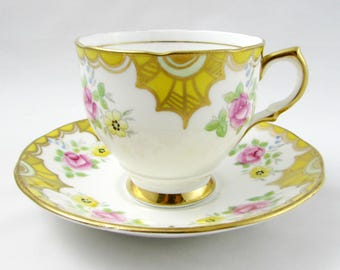 Vintage Yellow Tea Cup and Saucer by Salisbury, with Small Pink Roses, English Bone China, Teacup and Saucer