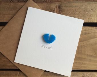 It's A Boy Card with detachable baby feet magnet keepsake
