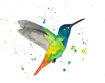 Hummingbird 2 watercolor print