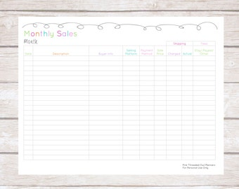 Monthly Sales, Plan Your Week, Organized, Editable, Small Business Planner, Handmade Creations
