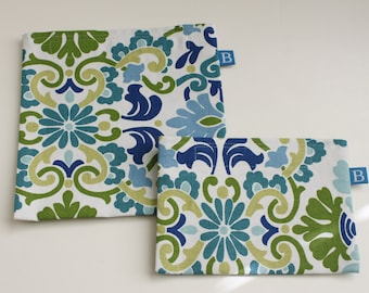 Reuseable Eco-Friendly Set of Snack and Sandwich Bags in Green, Blue and Teal Floral Fabric