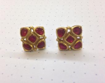 Indian Wedding Earrings: Ruby