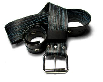 Turquoise Thread STITCHED Recycled Bike Tube Belt