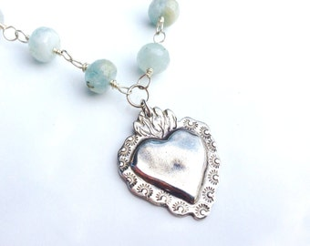 Large Sacred Heart Corazon Sagrado Silver Milagro Necklace on Aquamarine Chain