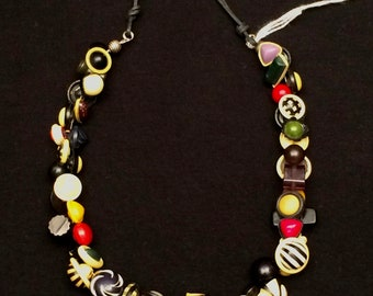 Multi-colored celluloid vintage button necklace charmer