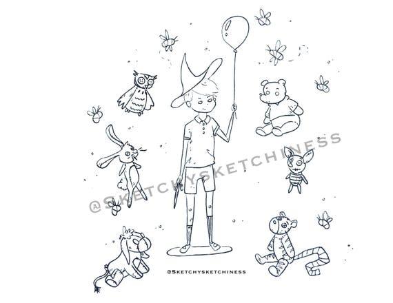 Disney Färbung Blatt Christopher Robin als Hexe mit Winnie der