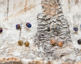 Tiny sterling silver druzy stud earrings, sparkly crystal earrings, small round stone earrings, cobalt blue, black, white post earrings