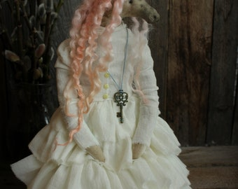 Artemisia pink unicorn fantasy art rag doll stuffed anthropomorphic