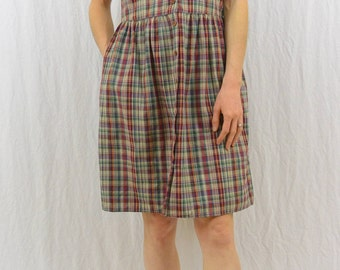 Vintage Plaid Collared Mini Dress, Size Small, Dress with Pockets, 80's does 50's, Mori Girl, Forest Girl, Retro, 50's Style