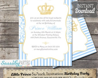 Little Prince Birthday Party Invitation - INSTANT DOWNLOAD - Editable & Printable Boys Party Invitation by Sassaby Parties