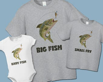 Big Fish and Small Fry Matching Shirts - Create a set -Father's Day- Distressed Graphic - Father Daughter Fishing Shirts - Daddy Baby  Tees