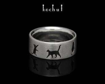 "Silver cat ring, cat ring, cat lover ring. Cute cat ring ""March cats"" from Kochut collection."