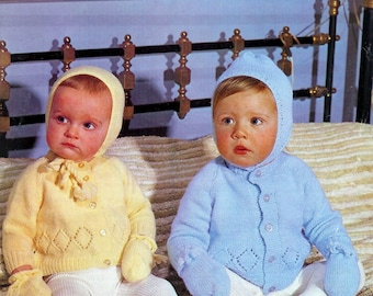 Baby Qk 8ply Jacket Bonnet and Mittens 20-24ins -PDF of  Vintage Baby Knitting Patterns
