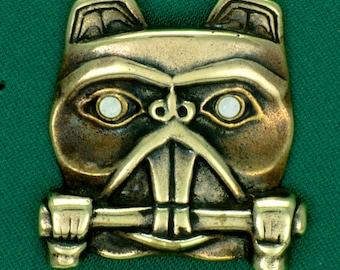 Beaver Totem Pin w/ Abalone Shell Eyes~ Bronze