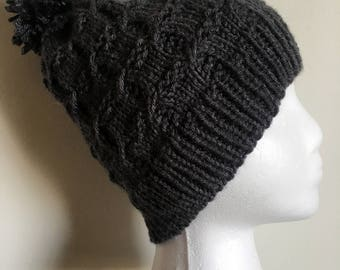 Cross cable knit hat; dark gray cable knit hat; hat with pom pom