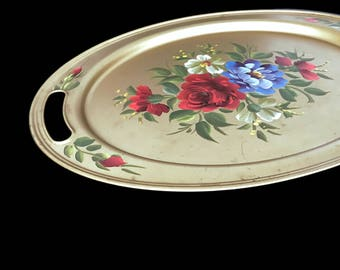 Vintage Tole Tray Gold Oval Metal Tray Cutout Handles Painted Floral Tray Tole Tray Toleware Cottage Chic Home Decor