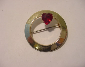 Vintage Red Rhinestone Heart Accented Brooch  12 - 288