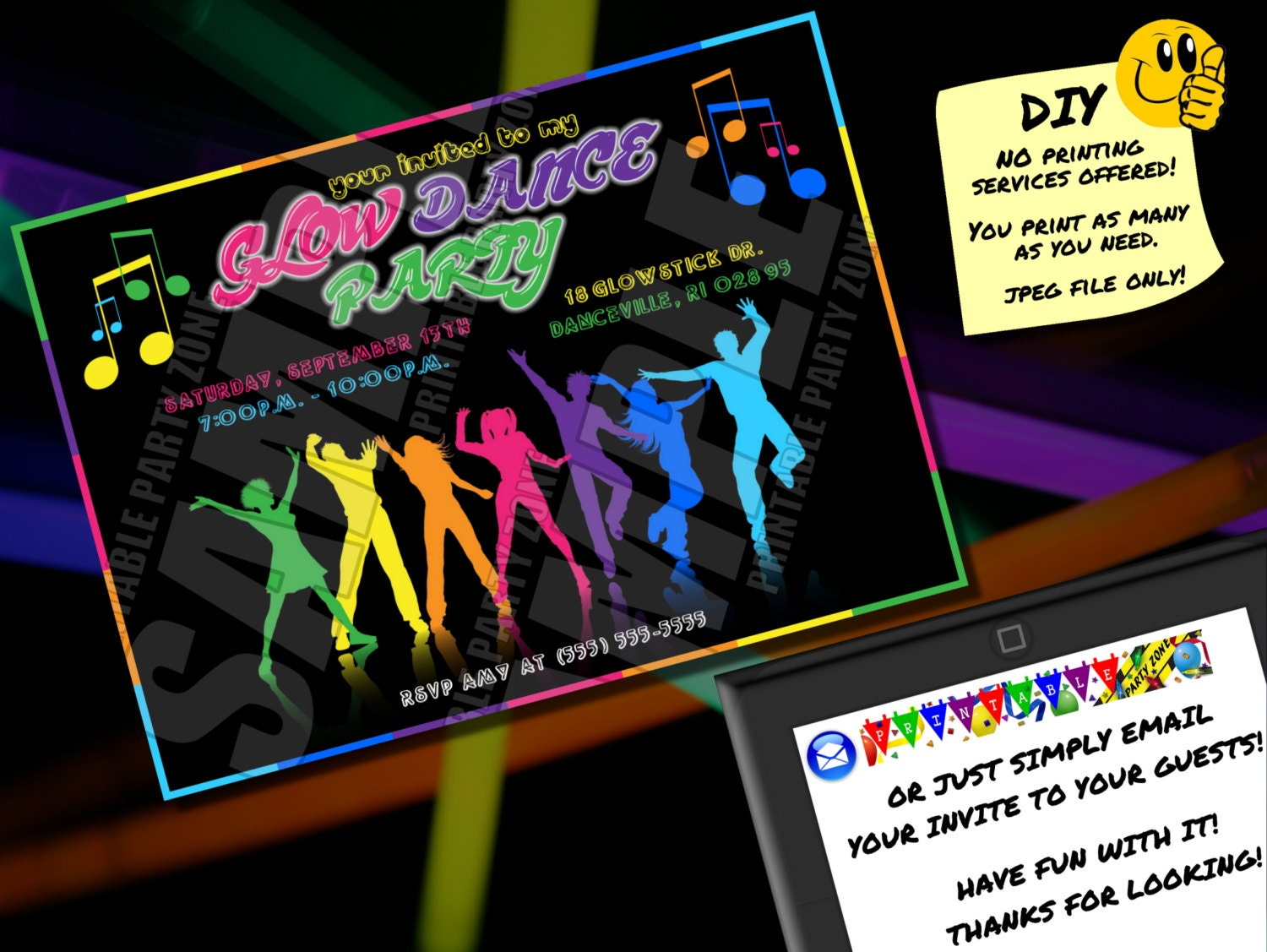 GLOW DANCE PARTY Invitation Printable Invite Emailable
