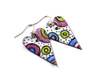 Big Funky Hearts Handmade Earrings, Enameled Earrings, Antique Silver Earrings,Heart Earrings,Artisan Earrings,Multi Colored Earrings, AE129