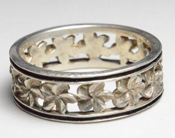 Vintage Sterling Silver Plumeria Flower Infinity Style Band Size 11.75