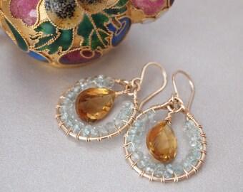 Fancy Cut Champagne Quartz Blue Aquamarine Gold Filled Earrings