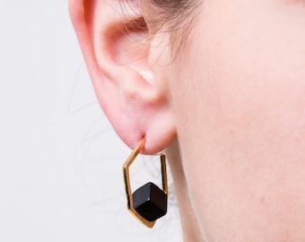 Black Gemstone Earrings,Hoop Earrings with Gemstones,Gold and Onyx Earrings, Black and Gold Hoop Earrings,Onyx Hoop Earrings,Honeycomb Hoops