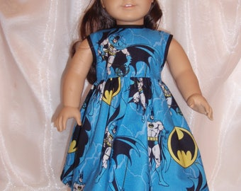 "18 Inch Doll Blue Cotton Batman Print Dress, 18"" Doll Clothes, AG Doll Clothes, Girl Doll Clothes"