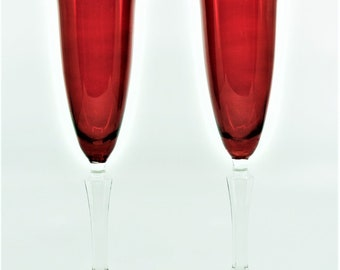 Vintage Red Champagne Flutes with Clear Six-Sided Stems