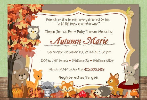 Woodland animals fall forest themed baby shower invitation filmwisefo