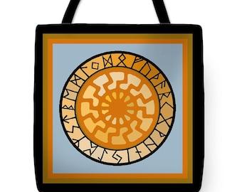 Viking Black Sun Rune Calendar PolyPoplin Tote Bag - SilkyPoly Throw Pillow - Nordic Decor - Celtic Tote Bag - Nordic Exercise Tote Bag