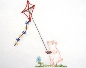 Pig Flying a Kite Hand Embroidery Pattern PDF