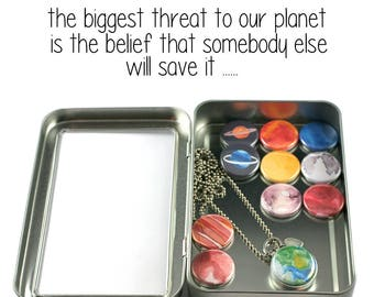Solar System Jewelry • Solar System Locket Necklace • Watercolors • Space Jewelry • Switchable Planets • Magnetic • Recycled • Gift for Her