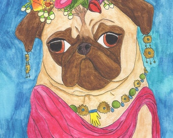 Pug Gift For Her, Pug Dog Lover Art Gift, College Student Gift, Bohemian Boho Girlfriend Gift, Pug Art Print, Cute Gifts For Her Under 30