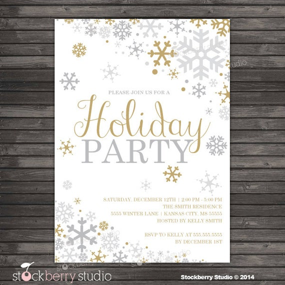 Items similar to Winter Holiday Party Invitation - Gold ...