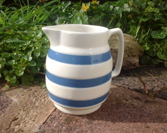 Vintage Blue Banded Chef Ware Cream Jug