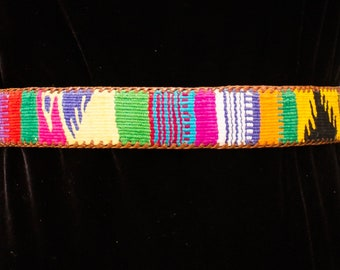 Leather tooled  Belt with Woven Guatemalan Band