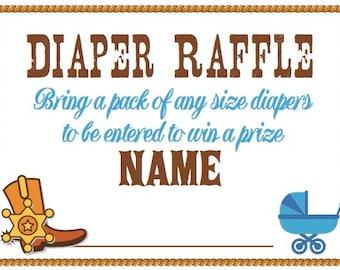 Cowboy themed Diaper Raffle ticket