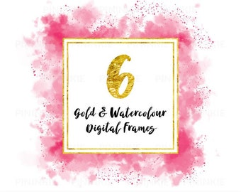 Watercolour Digital Frames, Gold Digital Frames, Square Instagram Frames, Pink, Blue, Scrapbooking Frames, Scrapbook Clipart, Commercial Use