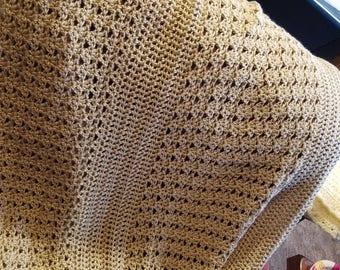 "Crocheted - Tan Baby Afghan - 44"" x 39"""