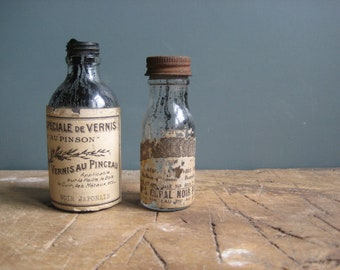 Two vintage French bottles, labels, varnish bottles, home decor, set dressing, photo props
