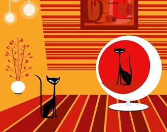 Ball Chair Cats Limited Edition Giclee Art Print by Kerry Beary Mid-Century Modern Style