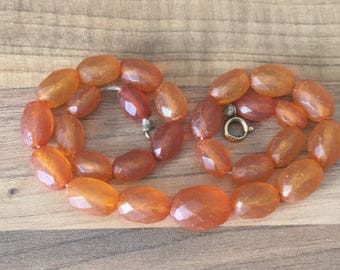 """GORGEOUS 15"""" Antique Genuine Natural Faceted Honey Amber Bead Necklace 19gr"""