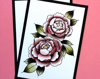 Watercolor Tattoo Flash Peony Botanical Print by Michelle Kent