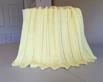 Crocheted Ripple Baby Afghan -Yellow
